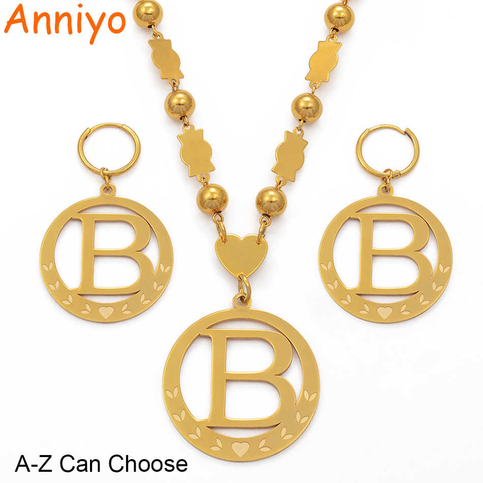 Anniyo Big Size Initial Set Pendant Necklaces & Spring-Ring Gold Color Micronesia Alphabet English Letter A-Z 26 Jewelry #076921