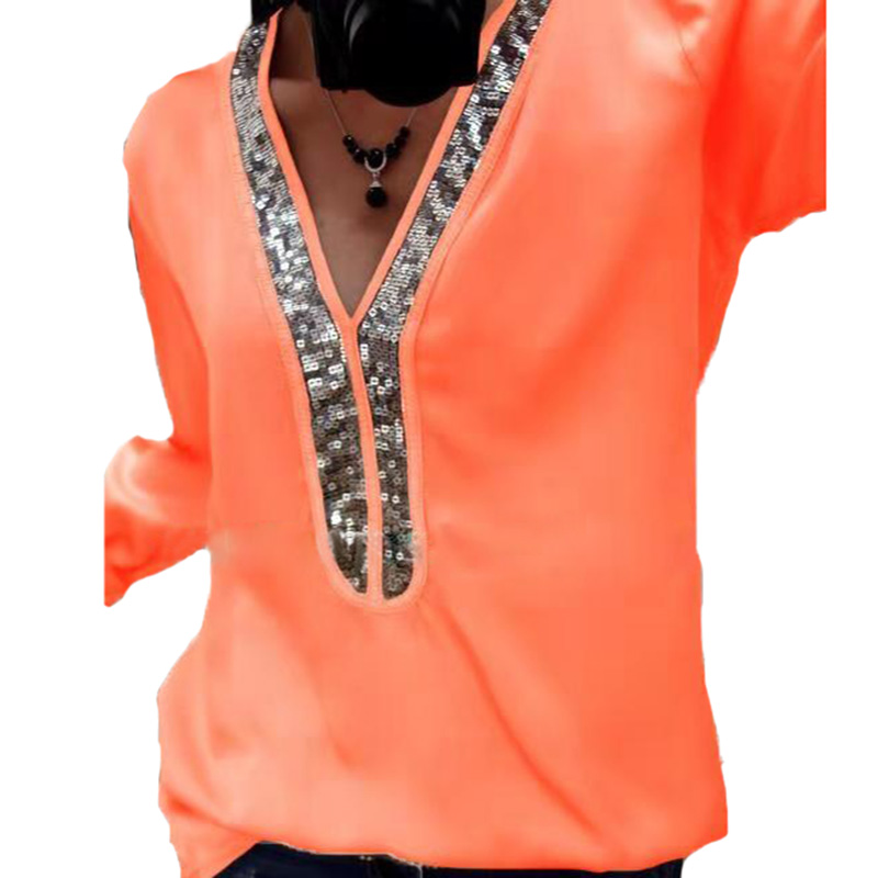 28a84184 Elegant Women Tops Blouse Plus Size Sequined Tunic Autumn Winter Long  Sleeve V Neck Casual Shirts Loose Top Tees Ladies Blusas