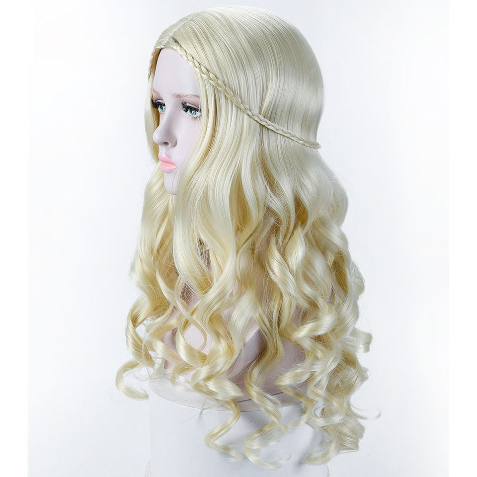 Allaosify Long Wavy Blonde Wigs for Women Synthetic Long Curly Cosplay Wigs Costume for Afrcian Hair Full Wigs