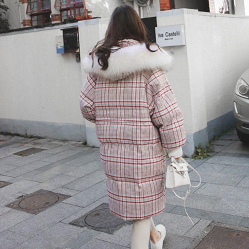 Col Lâche En Veste Fourrure Parka Femmes Plaid Chaud Femelle Manteau La 2018 D'hiver De Coton Taille L33 Nouveau Vêtements Plus Occasionnel Épaissir Long Survêtement OHqWYH