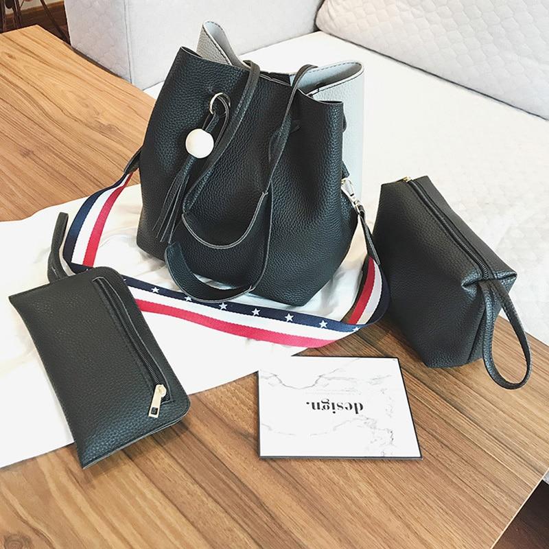 Coofit Bucket Bag 3 Set Shoulder Bag Female Fashion Colorful Striped Strap Shoulder Bags With Clutch Wallet 2018 New Arrival Sac