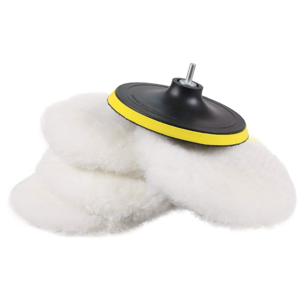 SPTA Soft Wool Polisher/Buffer Bonnet & Pad With Hook&Loop And 5/8