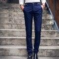Los hombres Traje de Pantalones 2017 de la Alta Calidad Del Hombre de Negocios Formal Traje de Pantalones Masculinos Pantalones Rectos pantalones de Vestir