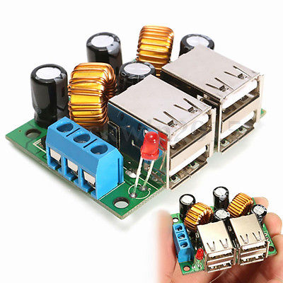 4 USB Port Step down Power Supply Converter Board Module DC 12V 24V 40V to 5V