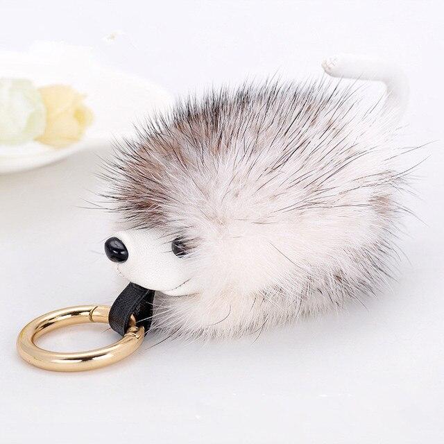 RONGQING Moda Bonito Pequeno Sable Hedgehog Pingente Chaveiros Chaveiros Animal Boneca de Brinquedo Bolsa Chave Titular Mulheres Pompom