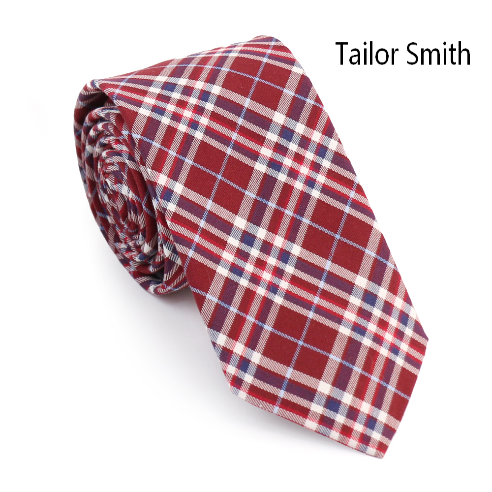 Tailor Smith Simple Fashion font b Tartan b font Style Palid Cotton Necktie Mens Casual Slim