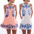 2016 Chic Женщины Без Рукавов Dress Полиэстер Цветочный Печати Повседневная Мини-Юбки S-XL ZT2