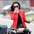 Новая весна женщин кожаная куртка короткий параграф тонкий воротник кожаной куртки женские мода красная куртка локомотив одежда женщин