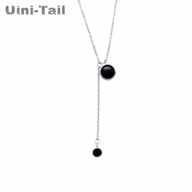 0cbc2976a7c647 ... Uini-Tail hot new 925 sterling silver simple black Epoxy necklace Korea  size circle personality