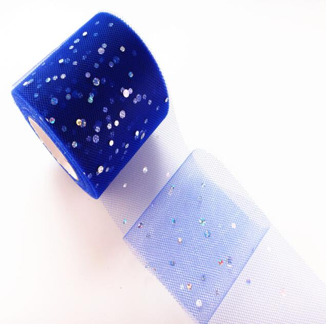 25 ярдов/рулон 6,5 см блеск рулон тюля с блестками Свадебные украшения кружева, тюль, платье-пачка «сделай сам» из органзы Baby Shower вечерние поставки - Цвет: AQ26