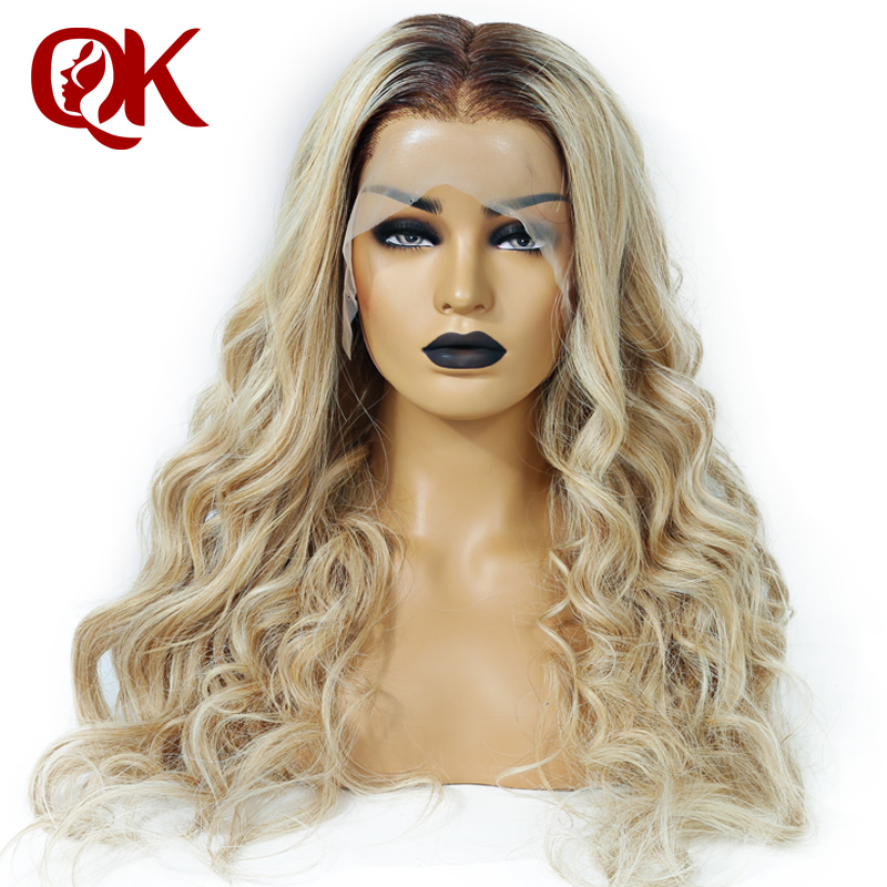 QueenKing Hair Front Lace Wig 180% Density Lemi Color Balayage Ombre Wigs T4/27/613 Brazilian Remy Hair Free Shipping Overnight