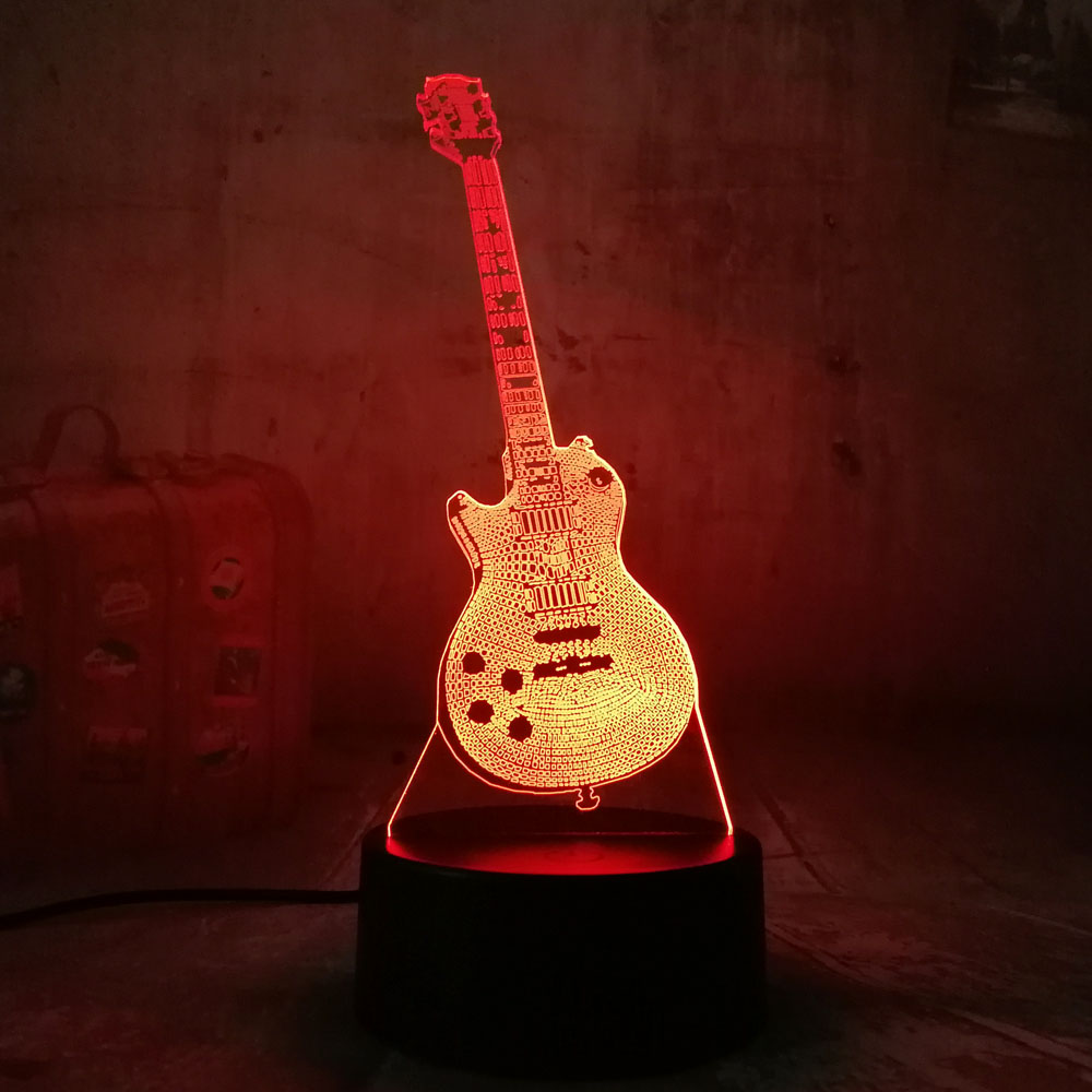 New Amroe Bass Guitar 3D RGB LED Night Light Multicolor Creative 7 Color Change USB Desk Lamp Kids Gift Home Decor Flashlight magnetic floating levitation 3d print moon lamp led night light 2 color auto change moon light home decor creative birthday gift