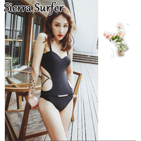 One Piece Swimsuit Swim Suit May Beach Girls Womens Wear 2018 Ladies Beachwear One Piece Push Cover Up Underwire Chip Sexy Black