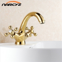 Fast shipping Top quality fashion gold plated copper basin hot and cold mixing faucet G1004