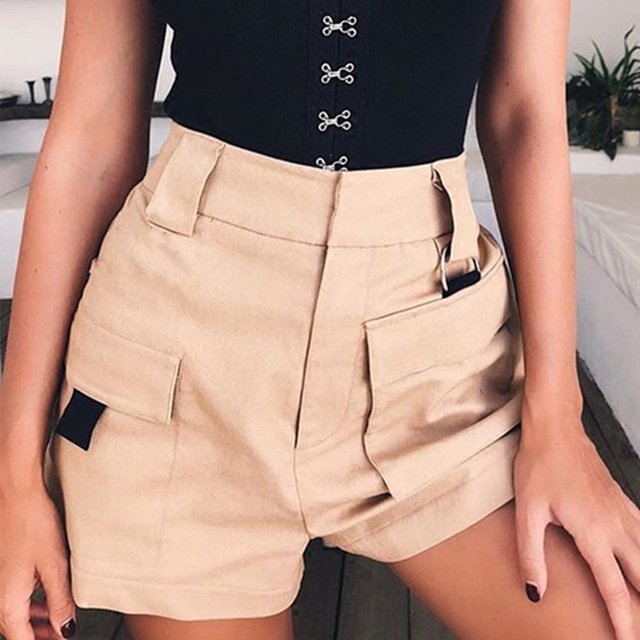 High Waist Wide Leg Cargo Women's Shorts Vintage Sashes Solid Khaki Pocket Women Shorts 2020 Summer Fashion NEW Casual Clothes 4