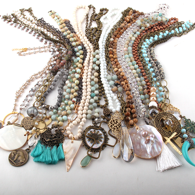 Wholesale Fashion Mix Color Pendant Necklace Handmade Women Jewelry 20pc mix-in Pendant Necklaces from Jewelry & Accessories    1