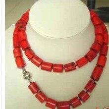 41be7a847fb0 Boda mujer joyería 32 pulgadas 80 cm red coral cilindro piedra collar largo  regalo hecho a mano del encanto