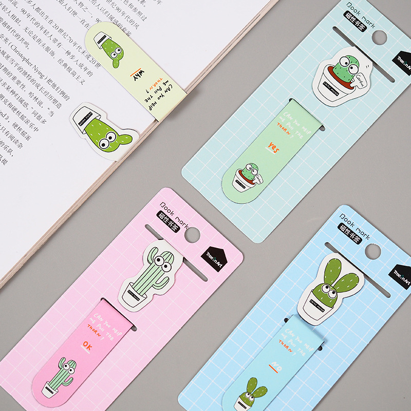 2 Pcs/pack Cool Cactus Potted Magnet Bookmark Paper Clip School Office Supply Escolar Papelaria Gift Stationery