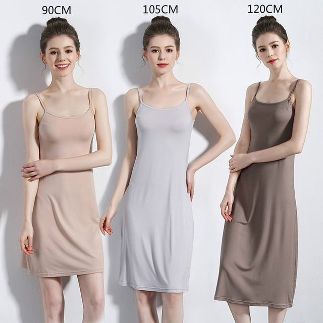 4c84b46b30d Summer women slip dress long thin strap sleeveless 2019 new inner dress  high quality bottom skirt undercoat plus size underskirt