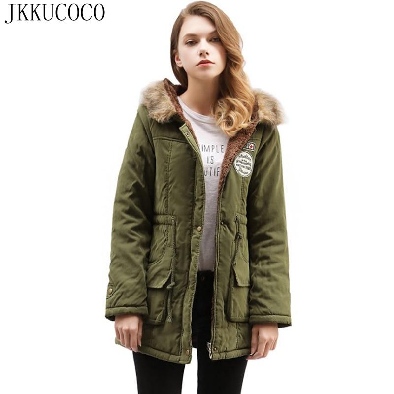 JKKUCOCO Women Cotton Jacket Embroidery Letters Logo Casual Coats Hair Hooded jackets Women   Parkas   Cashmere warm winter Jacket