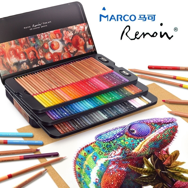 New Arrival Marco Renoir Fine Art 24--100 Colored Pencils Pigments for Artist Sketch, Adult Coloring Books image