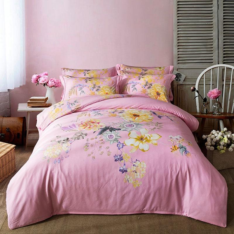 papa mima light pink floral flowers bedding set 4pcs queen king size bedlinens four seasons. Black Bedroom Furniture Sets. Home Design Ideas