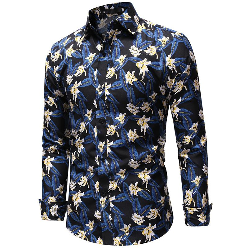 Floral Print Hawaiian Shirt Men Casual Blouse Slim Fit Mens Long sleeve Blue Yellow