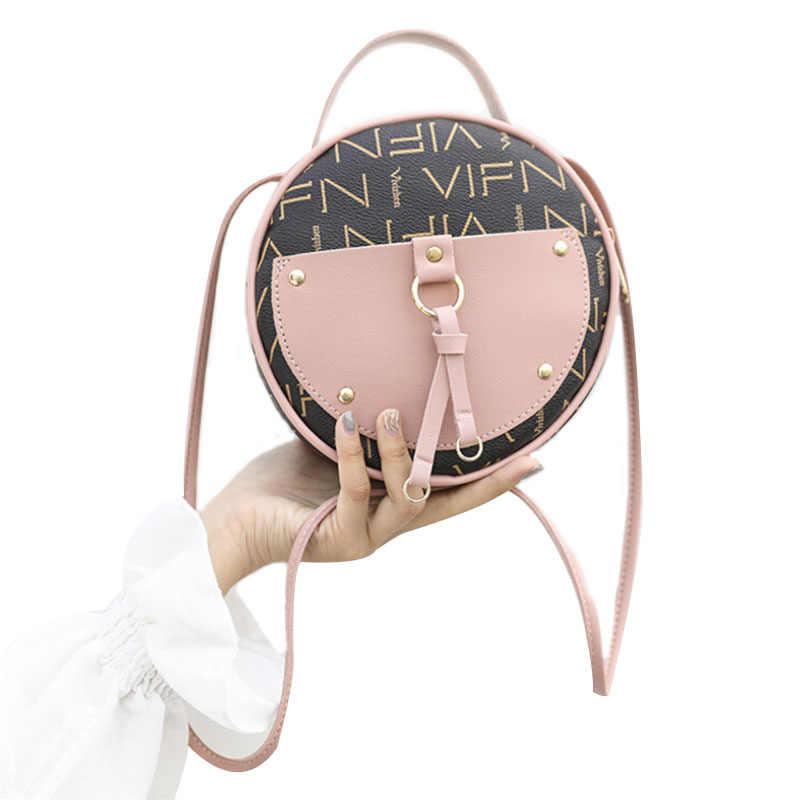 Vintage Scrub Kulit Bulat Desainer Tas Selempang untuk Wanita 2019 Tas Bahu Kulit PU Wanita Tas Tangan Kecil Mini Tote Tas