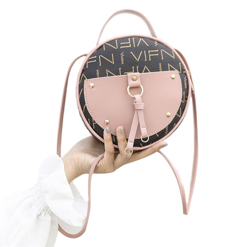 Vintage Scrub Leather Round Designer Crossbody Bag For Women 2019 PU Leather Shoulder Bags Ladies Small Handbags Mini Tote Bag(China)