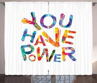 Quote Curtains You Have Power Motivational Inscription Triangular Letters Colorful Youthful Design Living Room Bedroom Window