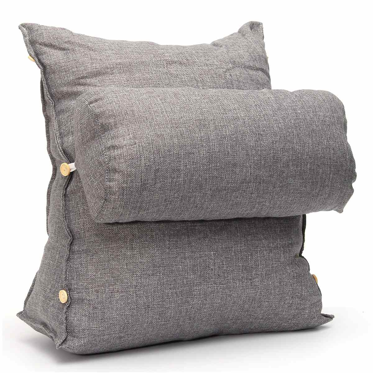 Corduroy Bed Rest Pillow - Zippered sofa bed pillow chair rest neck support cushion fip pillow lumbar cervical protection cushion pad