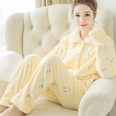Las mujeres pijamas de invierno gruesa de coral cachemira Corea otoño encantadora larga de franela manga larga chaqueta trajes de servicio a domicilio pijamas mujeres