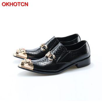 OKHOTCN Brand Snakeskin Leather Men Oxford Shoes Gold Hasp Business Men Pointed Toe Shoes Black Men Wedding Dress Boat Shoes