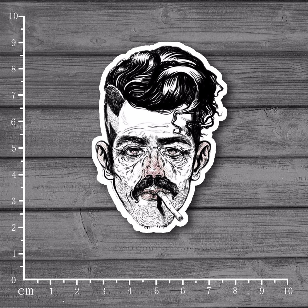 Smoking Punk Bearded Man Laptop Notebook Skin Stationery Sticker Home decor jdm Decal For kid Toy Suitcase Stickers[Single]