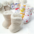 Otoño E Invierno de Dibujos Animados Bebé Prewalker Del Bebé 0-1 Años de Algodón Acolchado Zapatos de Lazo Anti Caída Zapatos De Cordero Botas de Terciopelo suave