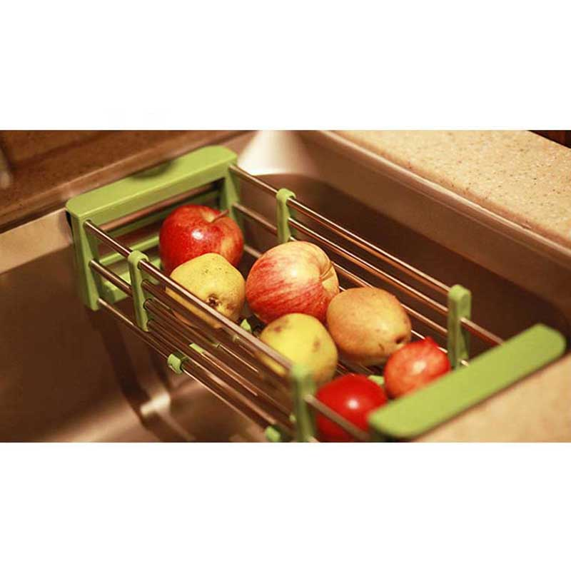 2017 Hot Sale Fruits and vegetables Draining Rack Kitchen Sink Dish Rack Insert Countertop Storage Organizer Tray Holder