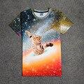 Novo Feliz Cat Galaxy 3D Imprimir T-shirt de Algodão Unisex Verão Camisetas Homme Adolescente Solto Tops Bonito da Vaquinha