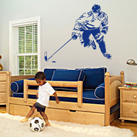 Wall Decal Sticker Hockey Stick Puck Rink Sport Team Game Kids Bedroom Wall Stickers Home Decor