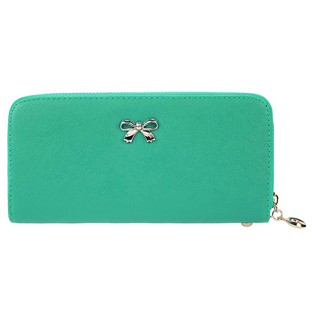 2018 new Korea Fashion and good quality Women PU leather Solid Purse Cards Holder Long Clutch Wallet with Wrist Strap Bag green