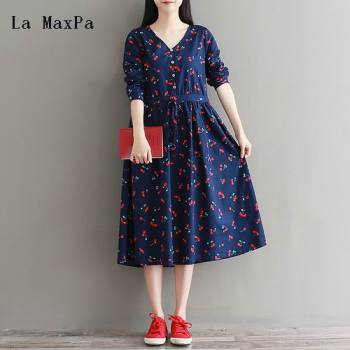 La MaxPa Mori Girl Spring Autumn Artsy Retro Dress V Neck Long Sleeve High Waist Pleated Drawstring Cherry Print Dress M-XXL girl