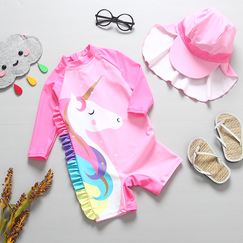 Ins Children Girls Unicorn Swimwear Sun Protective Cap +One Piece Long Sleeve Swimsuit for Kids Toddler Baby Swim Suit 12Months