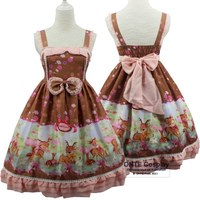 Lolita Girls Floral Deer Pattern Harness Dress Japanese Fashion Bow Knot Cosplay Costumes Hairwear