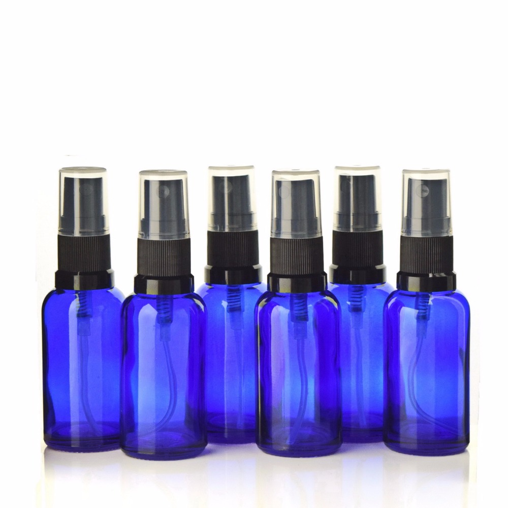 6pcs Empty High Quality 30ml Cobalt Blue Glass Spray Bottles with black fine mist sprayer for essential oil perfume aromatherapy 6pcs 1oz 30ml amber glass spray bottle w black fine mist sprayer refillable essential oil bottles empty cosmetic containers