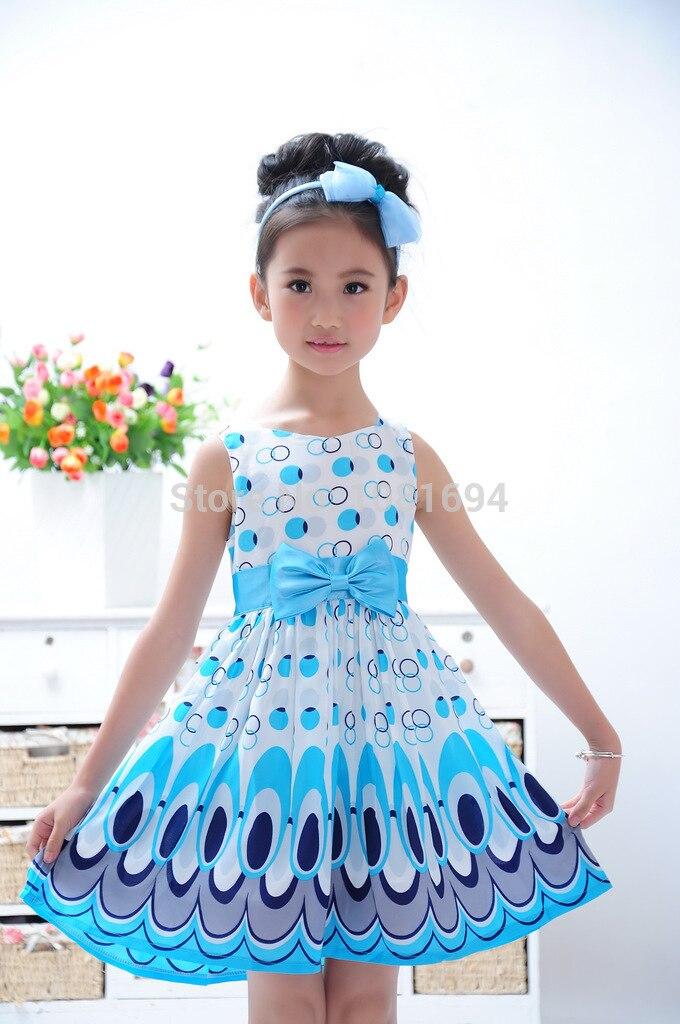Kids Baby Girls Bow Belt Sleeveless Princess Dress Party Wedding Peacock Gown