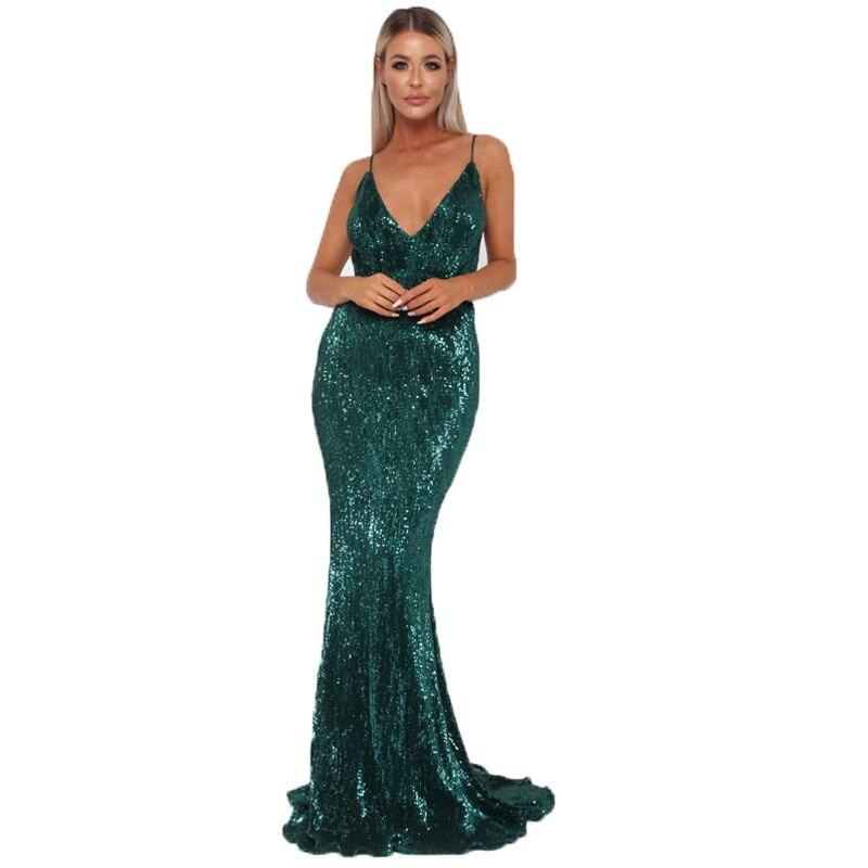 Sexy vert brillant Sequin extensible col en V rembourré robe de soirée longueur de plancher sirène dos ouvert moulante sans manches robe d'été