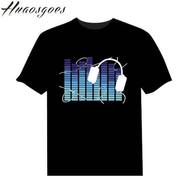 Sale Black Sound Activated Unisex O-neck Costume Light Up Flash Equalizer EL LED T-Shirt short sleeve for Rock Costume Party DJ