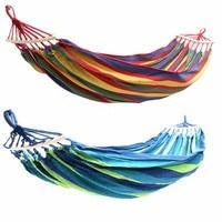 Przenośne podwójne 2 osoba hamak zielony tkaniny 450lb powietrza wiszące huśtawka na świeżym powietrzu Camping hamak 280*150cm w Hamaki od Meble na