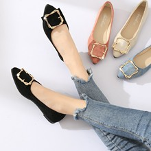 Spring Autumn New Tip Flat Bottom Women's Single Shoes With Metal Square Button Fashion Leisure Work Shoes Premium suede genuine leather spring autumn summer woman shoes with a sweet flat tip shoes casual square toe crystal fashion girl shoes metal