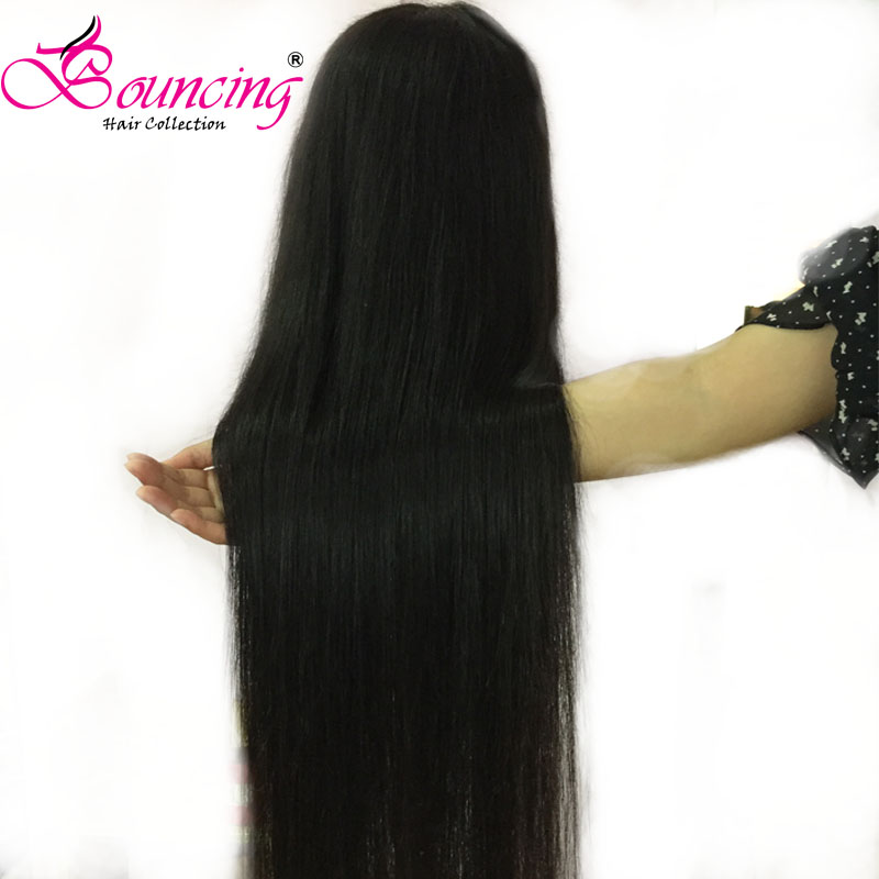 Bouncing Brazilian Remy Hair Straight 4X4 Lace Closure Human Hair Wigs 8-26 Inch Middle Part Pre Plucked Lace Wigs