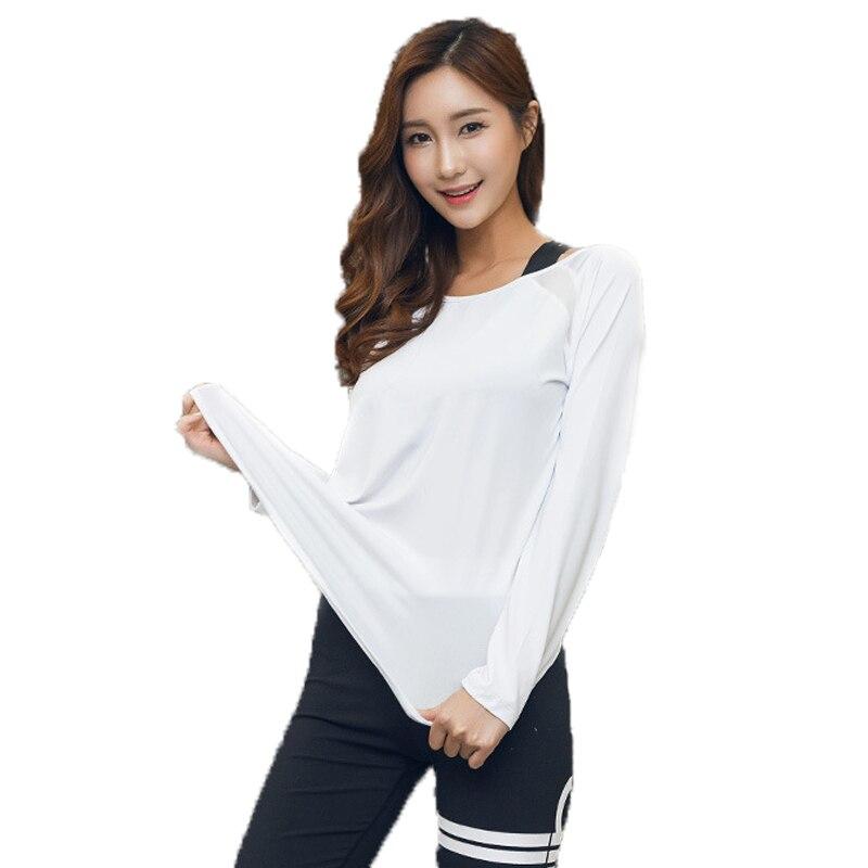 2017 Fashion Long Sleeves Sporting Tops Women Sexy Back Mesh Yarn Stitching Hollow T Shirts Harajuku